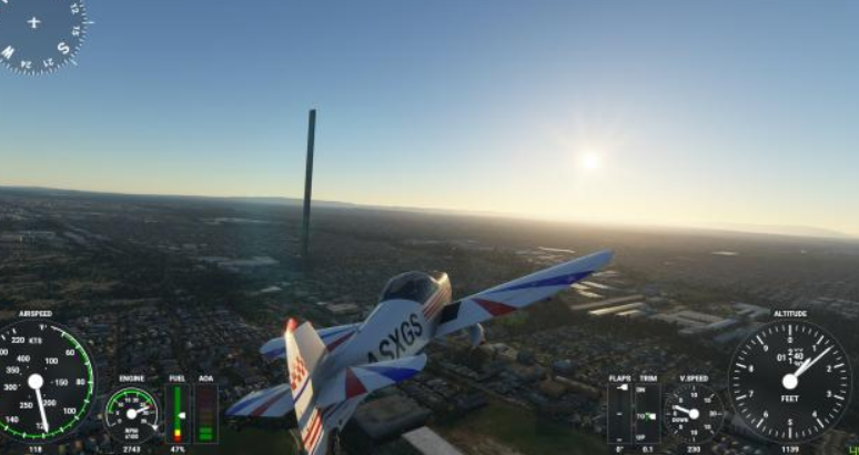 A student misprint causes a huge 200-story skyscraper to appear in Microsoft Flight Simulator